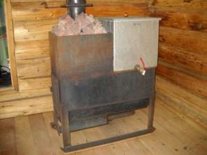 Печка для бани с баком для воды
